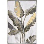 Gold Banana Leaves Framed Canvas Print Wall Art