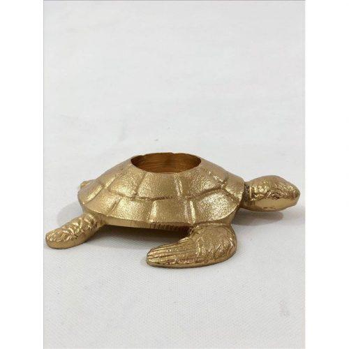 Golden Turtle Metal Tea Light Candle Holder