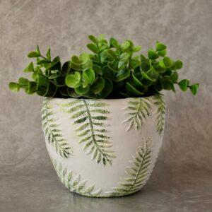 Green Palm Leaves Concrete Pot Planter