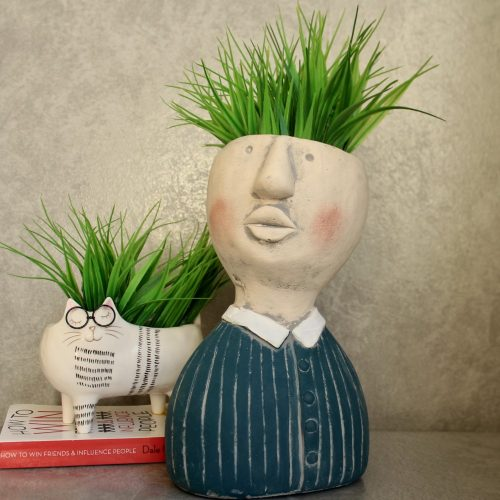 Large Blue Gentlemen Face Head Concrete Pot Planter