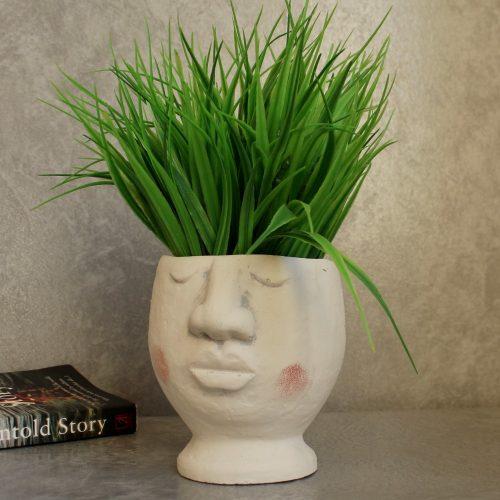 Large White Face Head Concrete Pot Planter