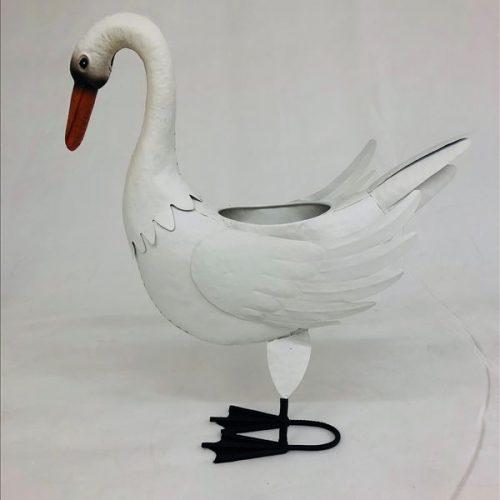 Large White Standing Swan Metal Pot Planter