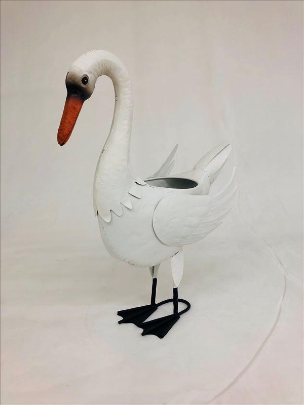 Large White Standing Swan Metal Pot Planter_1