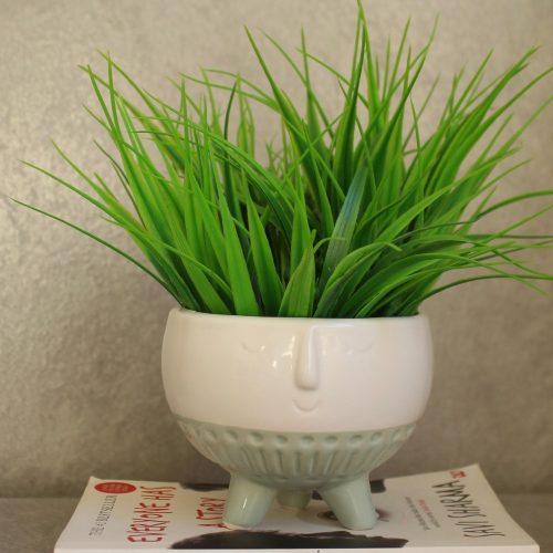 Mint Face Ceramic Pot Planter On Legs