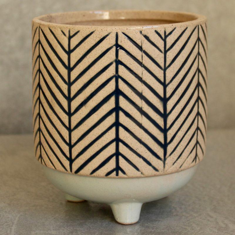 Myra Stripe Ceramic Pot Planter with Legs