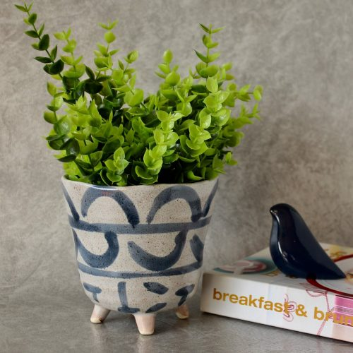 Navy Blue and Beige Ceramic Pot Planter With Legs_1