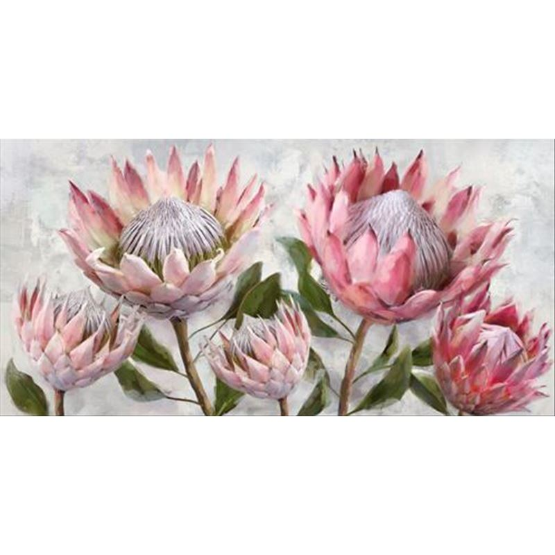 Pink Protea Flowers Bunch Framed Canvas Print Wall Art
