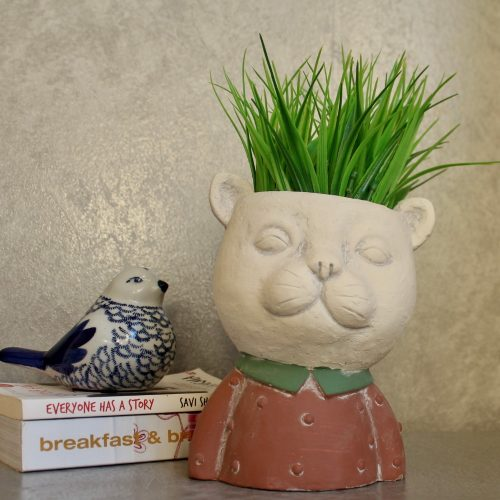 Red Cat Head Face Concrete Pot Planter