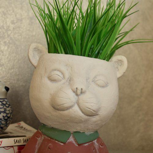 Red Cat Head Face Concrete Pot Planter