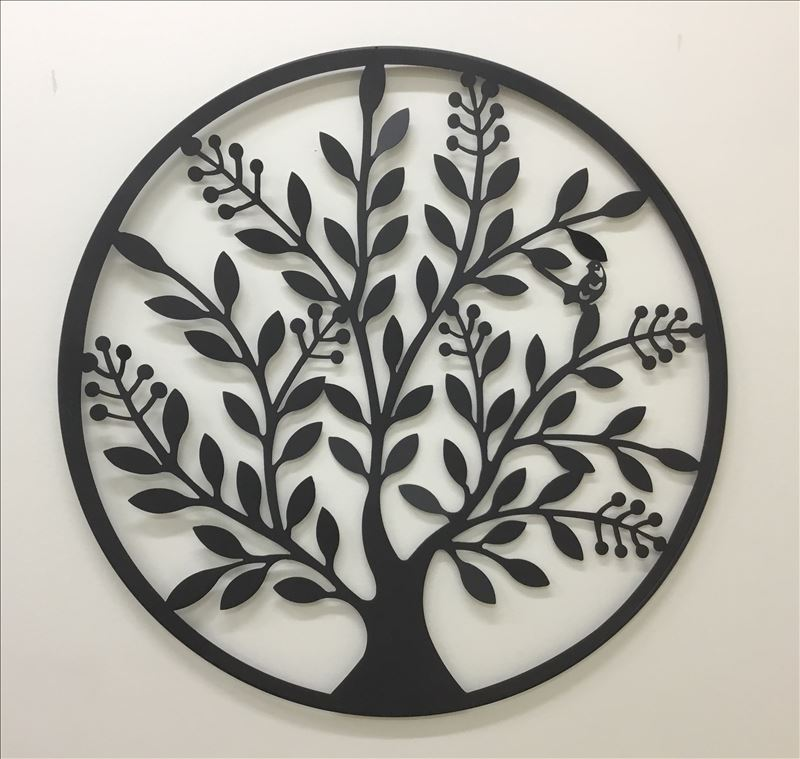 Round Black Peace Tree Leaves Metal Wall Art