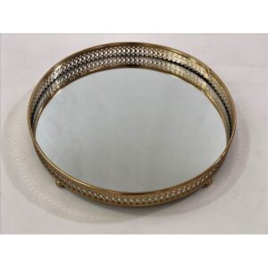 Round Metal Mirror Vanity Serving Tray
