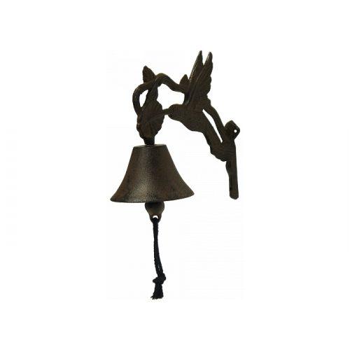 Rustic Black Cast Iron Metal Hummingbird Doorbell