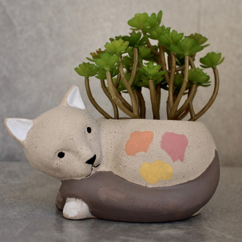 Sand Texture Ceramic Cat Succulent Pot Planter