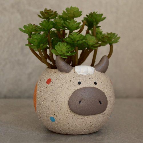 Sand Texture Ceramic Cow Succulent Pot Planter