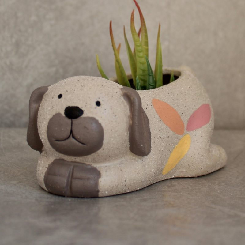 Sand Texture Ceramic Dog Succulent Pot Planter