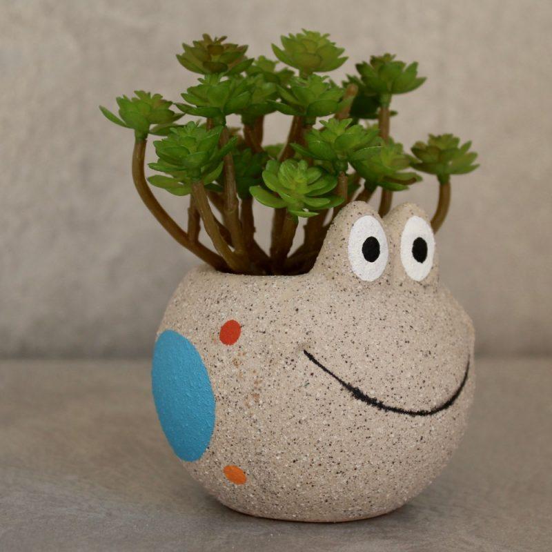 Sand Texture Ceramic Frog Succulent Pot Planter