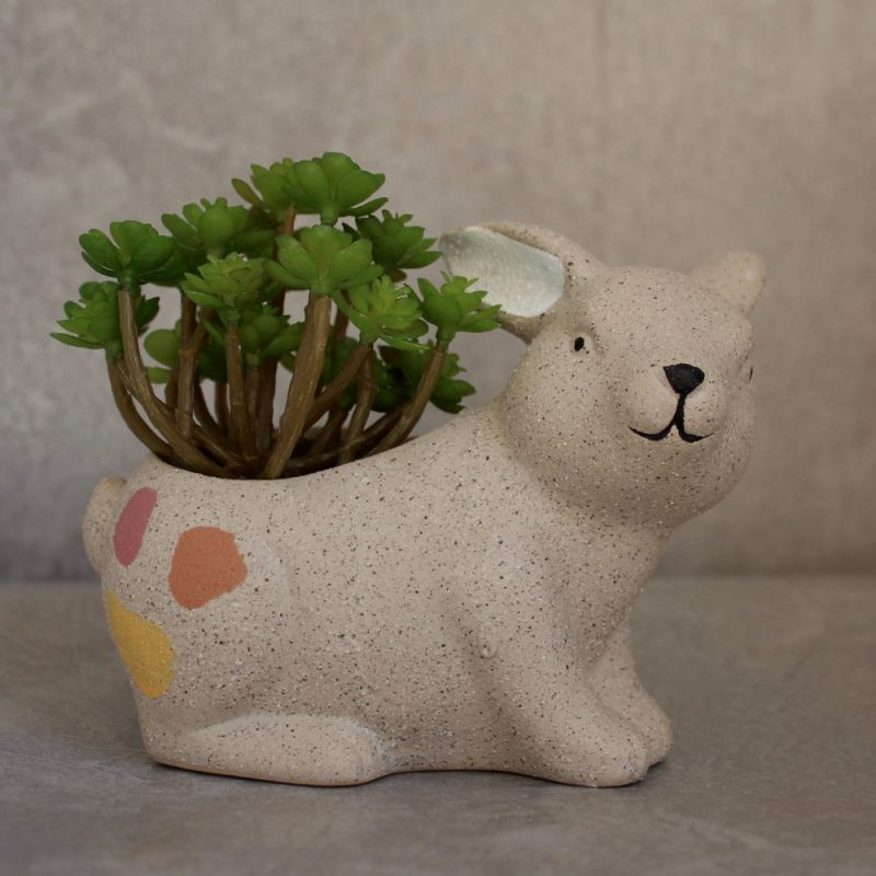Sand Texture Ceramic Rabbit Succulent Pot Planter