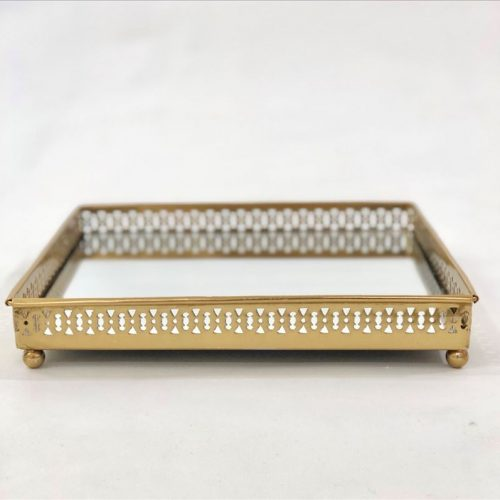 Square Mirror Vanity Serving Tray with Metal Legs