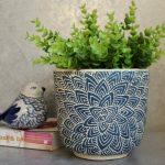 Tall Hamptons Blue Floral Mandala Concrete Pot Planter