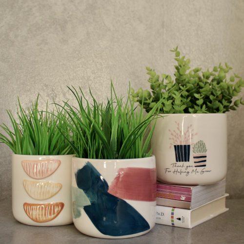 Hand Painted Ceramic Pot Planter