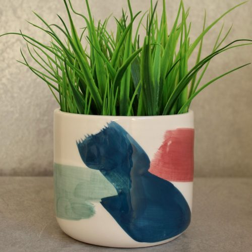 Vibrant Strokes Hand Painted Ceramic Pot Planter