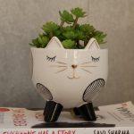 White Cat On Legs Ceramic Pot Planter