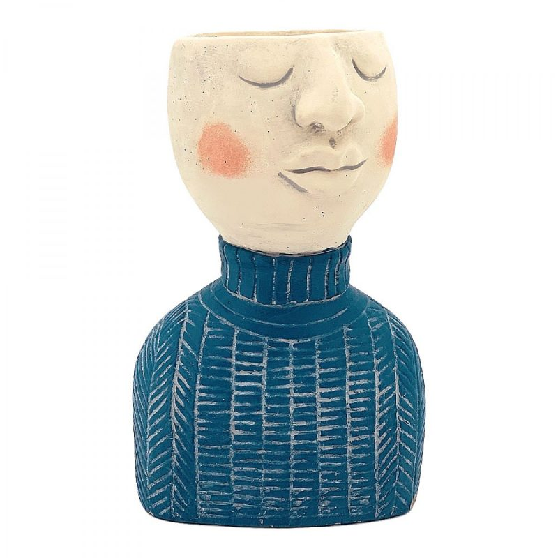 Blue Man Face Head Concrete Pot Planter
