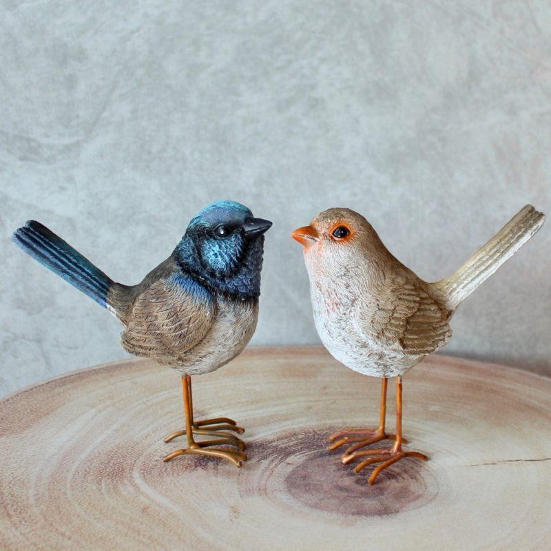 Blue and Brown Wren Bird Figurine