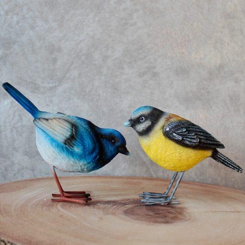 Blue and Yellow Garden Birds