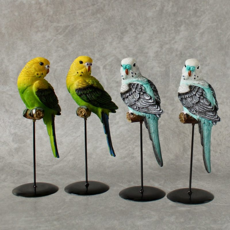 Budgie Birds On Stand Statue Ornament - Set of 2