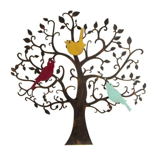 Colourful Birds On Tree Of Life Metal Wall Art