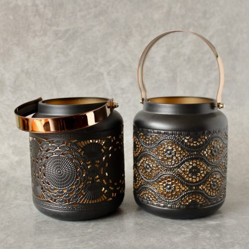 Copper Black Moroccan Floral Hurricane Candle Lantern