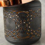 Copper Black Moroccan Floral Hurricane Candle Lantern_10