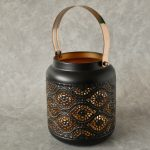 Copper Black Moroccan Floral Hurricane Candle Lantern_12