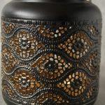Copper Black Moroccan Floral Hurricane Candle Lantern_2