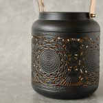 Copper Black Moroccan Floral Hurricane Candle Lantern_4