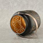 Copper Black Moroccan Floral Hurricane Candle Lantern_5