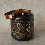 Copper Black Moroccan Floral Hurricane Candle Lantern_7
