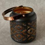 Copper Black Moroccan Floral Hurricane Candle Lantern_8