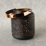 Copper Black Moroccan Floral Hurricane Candle Lantern_9