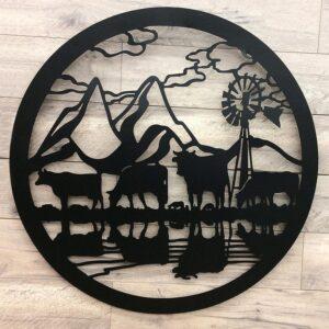 Cow Windmill Farmhouse Black Metal Wall Art