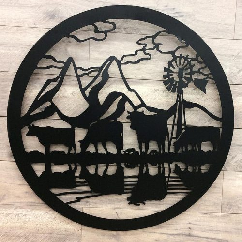 Cow Windmill Farmhouse Black Metal Wall Art