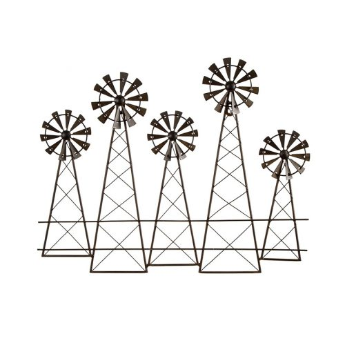 Distressed Brown 5 Windmill Metal Wall Art
