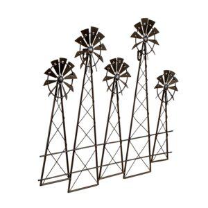 Distressed Brown 5 Windmill Metal Wall Art
