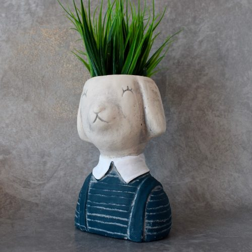 Dog Animal Face Head Concrete Planter Pot