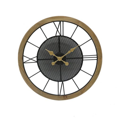 Extra Large Black Metal Wall Clock with Timber Frame