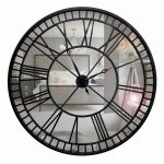 Extra Large Mirror Wall Clock with Black Metal Frame