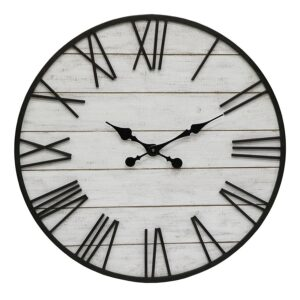 Extra Large Whitewash Hamptons Timber Iron Wall Clock