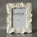 Floral Photo Frame Distressed White Picture Holder