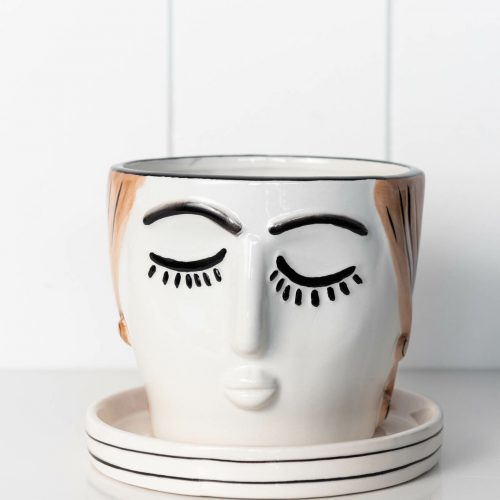 Girl Ceramic Planter with Saucer